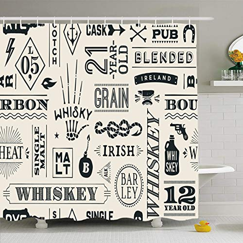 Ahawoso Shower Curtain 66x72 Inches Pub Pattern Whiskey Whisky Food Drink Bourbon Vintage Bar Retro Restaurant Design Scotch Waterproof Polyester Fabric Set with Hooks ()