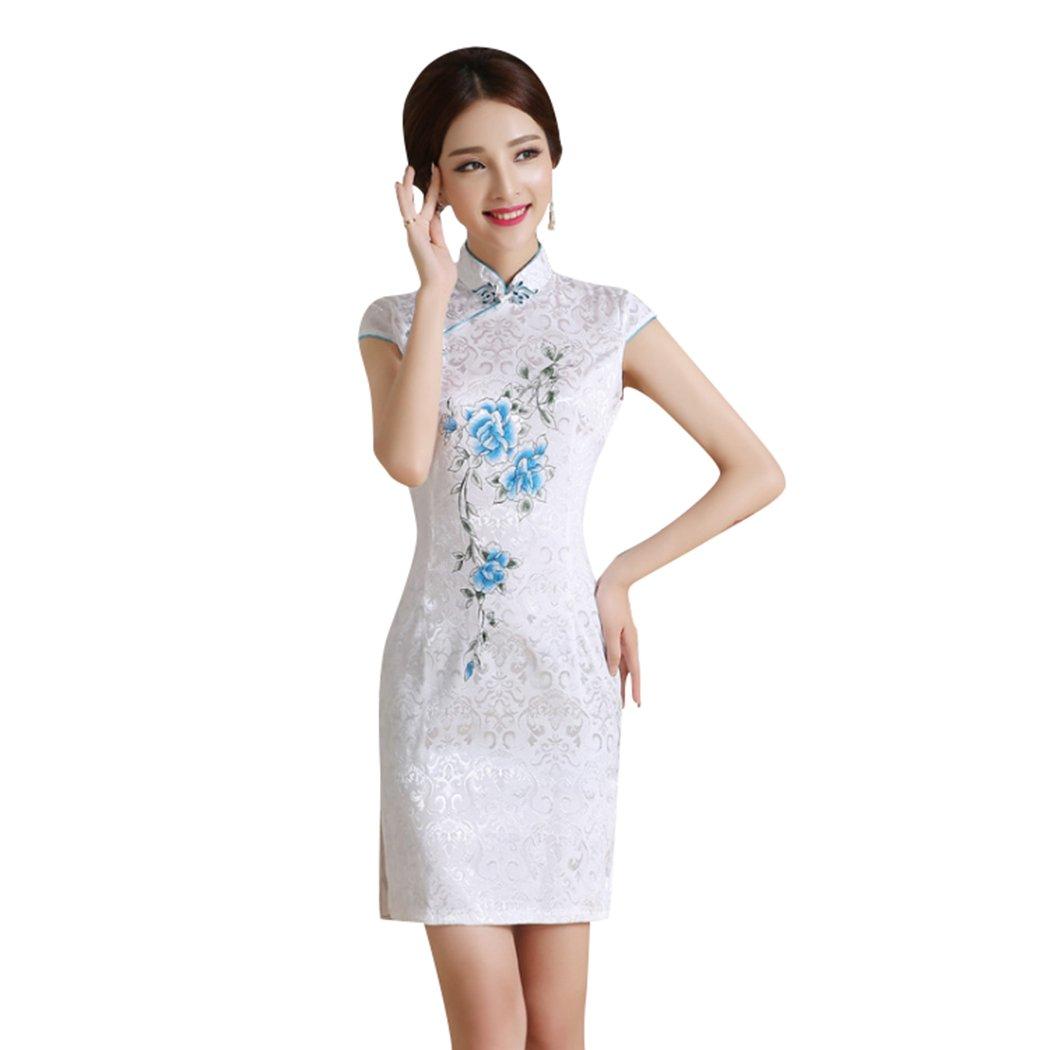 VENIMASEE Qipao Frauen Pink Floral Sommer Chinesisch Kleid Cheongsam ...