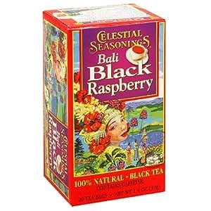 Celestial Seasonings Black Tea, Bali Black Raspberry, Tea Bags, 20-Count Boxes (Pack of 6)