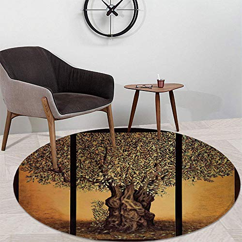 TecBillion Tree of Life Custom Round Carpet,Triptych of an Old Mature Olive Tree Mediterranean Greece Style Nature Graphic Decor for Children Bedroom Corridor,47.24