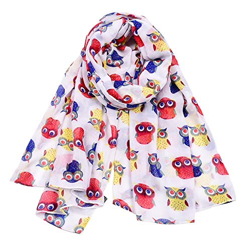 Woogwin Women's Cotton Scarves Lady Light Soft Fashion Solid Scarf Wrap Shawl (One Size, Z-AnimalWhite)