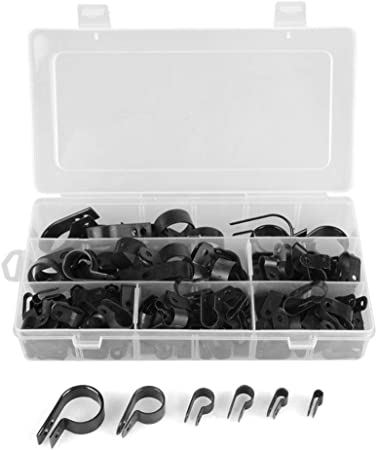 Tihood 200Pcs Cable Clamp Black Nylon Screws Plastic R-Type Cable Clamp Clips F
