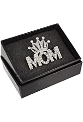 Mother's Day Crowned Mom Rhinestone Crystal Word Brooch Pin