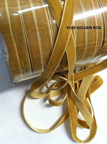 3/8 Velvet Ribbons- 5 Yards - Choose in 23 Colors (Golden - Velvet Gold Cloth