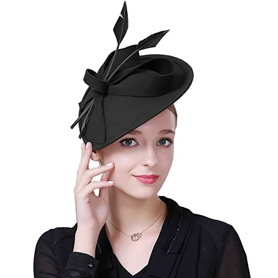 a8b1e0af Womens Fascinator Wool Fedora Pillbox Hat Formal Cocktail Wedding Hats  Headbands: Amazon.co.uk: Clothing