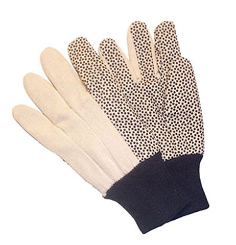 G & F 7489 Women's Size Cotton Canvas Work Gloves Coated with PVC Dots on Palm and Index Finger, 12 oz