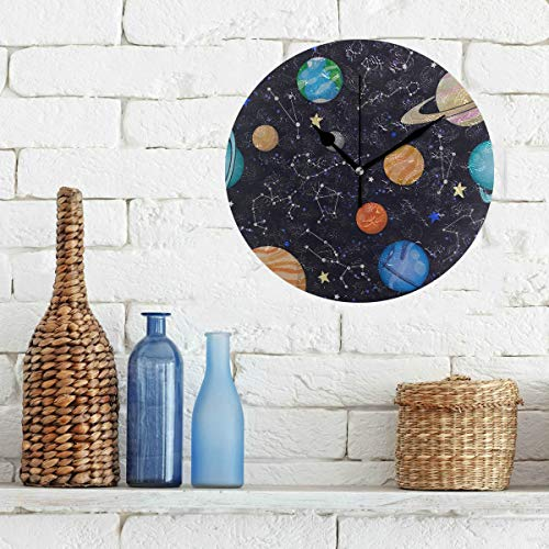 Large Decor Wall Clock Amazing Solar System Space Non-Ticking Round Silent Diamond Display Wall Clocks Painting Dial Kitchen Bedroom Decor Kids Clock Wall (Solar System Old School)