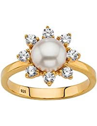 Genuine Freshwater White Pearl and CZ 18k Gold over .925 Silver Halo Ring (9mm)