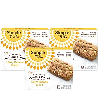 Simple Mills Almond Flour Snack Bars (Nutty Banana Bread) with Organic Coconut Oil, Chia Seeds, Sunflower Seeds, and Flax Seeds, Made with whole foods, 3 Count (Packaging May Vary)