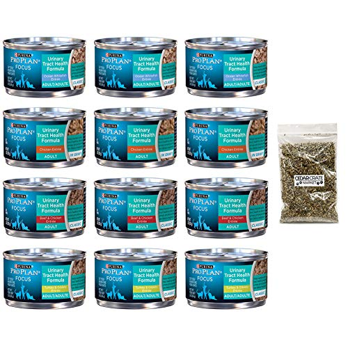 Purina Pro Plan Bundle Focus Wet Cat Food Urinary Tract Health (UTH) Variety Pack, 4 Flavors, 3-Ounce Cans (12 Total Cans) and Catnip