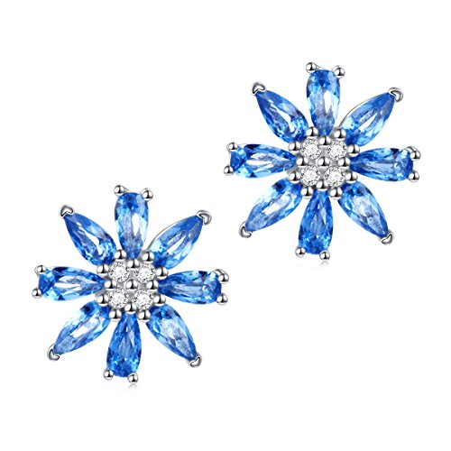Blue Cubic Zirconia Earrings (Valentine's Day Jewelry 925 Sterling Silver Blue Cubic Zirconia Flower Cz Stud Earrings for Women Girls)
