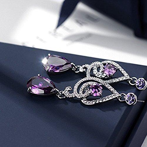 NEOGLORY Conjunto de Joya Collar Pendientes Flor con Cristales SWAROVSKI MORADO Boda Joya Original Regalo Mujer