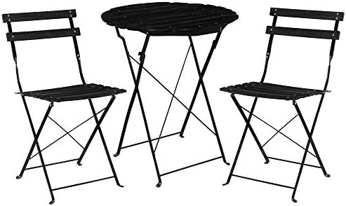 [casa.pro]® Kit de bistro Set (Table + 2 Chaise) Meuble du jardin balcon -  noir