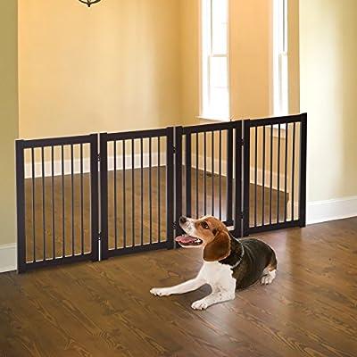 """Festnight Pet Dog Wooden Folding Indoor Safety Gate Freestanding Fence with Door 30"""""""