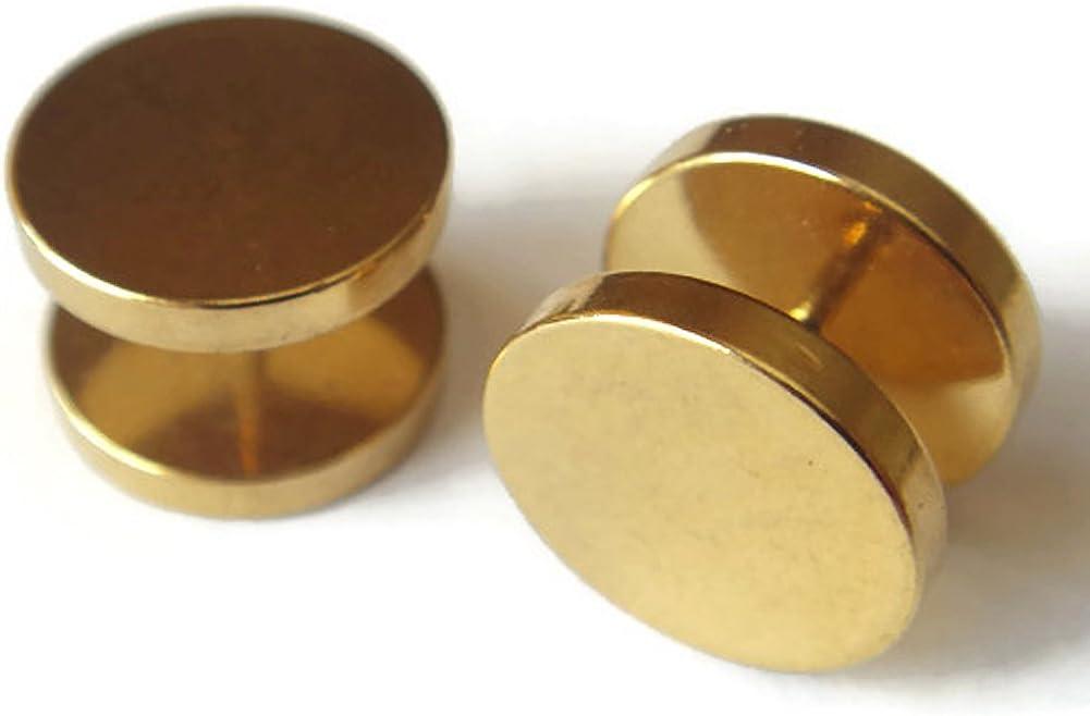 Pair 16g 9//16 14mm Gold Fake Plugs Ear Plug Rings Earrings Body Piercing Jewelry