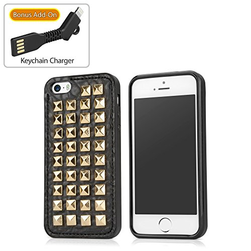 Coque Iphone se, BoxWave® [studchic Étui avec chargeur Porte-clés Bonus] Coque en TPU et en caoutchouc design Housse en cuir–punk rock pour Apple iPhone se, 5S, 5–Glam Or
