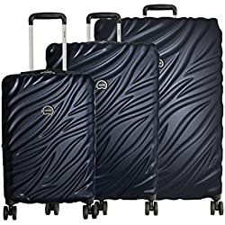 "Delsey Paris Alexis Luggage Set 3 Piece Lightweight Hardside Spinner Suitcase (21""/25""/29"") (Navy)"
