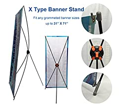 TheDisplayDeal X type Stand for Grommeted Banner Any Sizes up to 32X71 (32X71new)