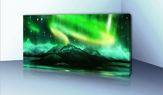 BilligerLuxus lienzo no 385 Aurora boreal verde 120 x 50 cm Lienzo ...