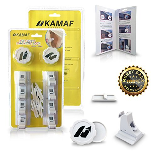 Baby Safety Magnetic Locks | Drill-Free, no Tools, no Screws | 8 Locks + 2 Keys | Child proofing for Cabinets Doors Drawers Cupboards | Invisible on Furniture | Easy to Install, Self-Adhesive 3M Tape by KAMAF SAFETY (Image #1)