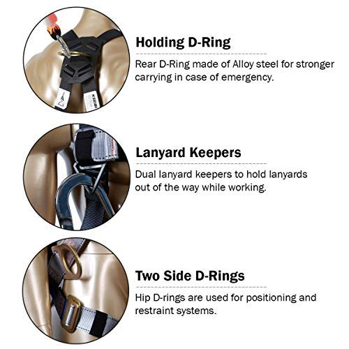 KSEIBI 421026 Fall Protection Safety Harness Kit W 3 D-Rings for Lanyard DELUXE Safety Protection Arrest and Carry Bag by KSEIBI (Image #4)