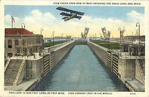 View Taken From Bow Of Boat Entering The Davis Lock Soo, Michigan Original Vintage Postcard