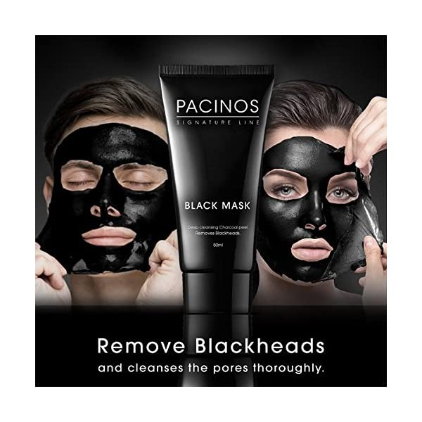 2 Pack - Pacinos Black Mask Deep Cleansing Charcoal Peel Off Mask 1.76 oz 3W Clinic Cleansing Foam - Charcoal - 100ml/3.38oz