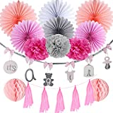 Baby Shower Decoration Kit Girl Pink Grey Paper Fans Tassel Garland with It's a Girl Banner - 13pcs