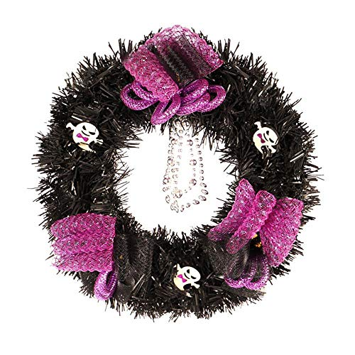 Meet&sunshine Halloween Wreath, Halloween Large Wreath Door Wall Ornament Garland Decoration Pumpkin Skull (D)]()