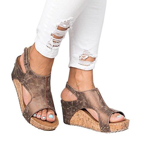 Marche Randonnee Flops Compensées Marron À Été Bohemian Beach Sandales Femme Talons Wedges Chaussures Bigtree Plateforme Summer Flip qxFA7w7