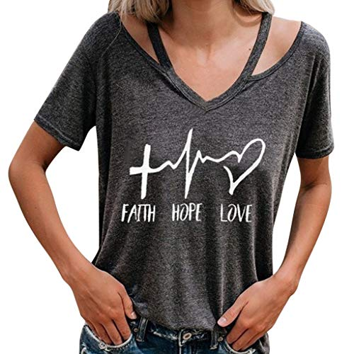 TANLANG Women's Halter Short Sleeve Round Collar Letter Faith Hope Love Print T Shirts Summer Casual Tops Dark Gray