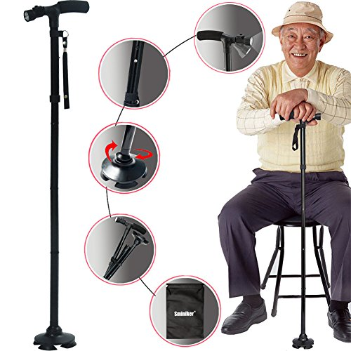 Walking Stick Seat - Sminiker Professional LED Folding Walking Cane with Carrying Bag for Old Gentleman or Lady Aluminum Alloy Foldable Cane with Light