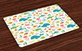 Lunarable Cartoon Place Mats Set of 4, Underwater Animals Aqua Marine Life with Crabs Sea Stars Fish Illustration, Washable Fabric Placemats for Dining Room Kitchen Table Decoration, Teal Green Yellow