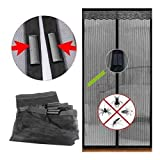 Magic Magnetic Door Curtain Mesh Bug Insect Mosquito Hands Fastening Fly Screen, 90cm x 210cm - Black by DELIAWINTERFEL