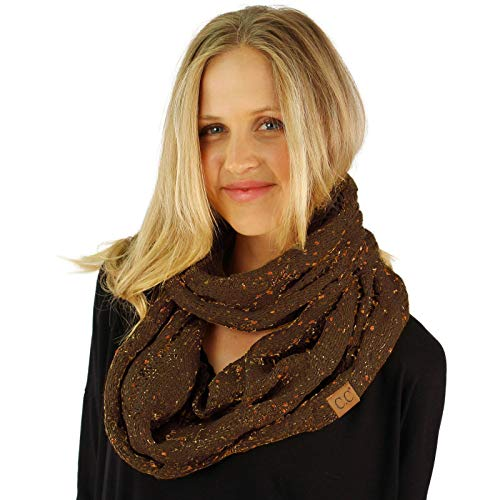 CC Confetti Soft Chunky Pullover Knit Long Loop Infinity Hood Cowl Scarf Brown by SK Hat shop