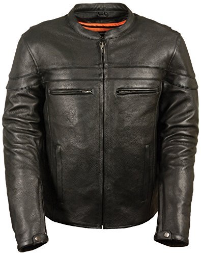 Milwaukee Men's Sporty Scooter Crossover Leather Jacket (Black, XX-Large)