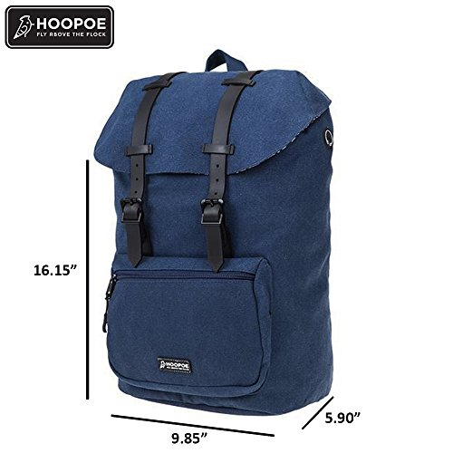 HOOPOE Urban-Ido, Navy Blue 16oz Waxed Canvas Outdoor Backpack with Padded Laptop Compartment & Earbud Hole, External Zip Pocket Water-Resistant, Lightweight, Men's Women's with Padding & Pockets by Hoopoe (Image #5)