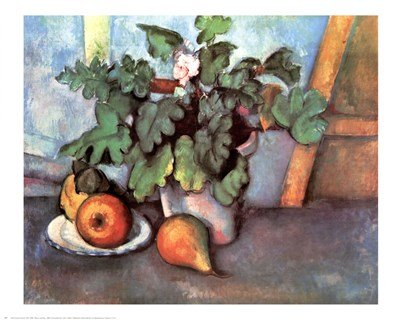 Flowers and Pears by Paul Cezanne - 27x22 Inches - Art Print Poster ()