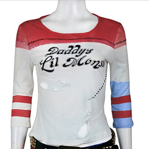 BFJ Ripped Version 2016 Suicide Squad Harley Quinn Short Sleeve Cosplay T-Shirt