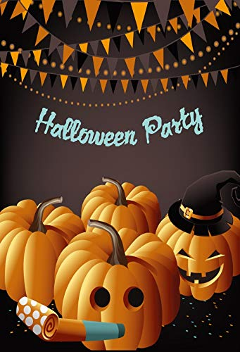 Yeele 6.5x10ft Halloween Party Background for Photography Jack O Lantern Pumpkin Bat Skull Magic Witch Hat Banner Photo Backdrop Decoration Trick Or Treat Children Kids Adult Portrait Shoots Props