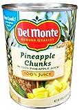 Del Monte PINEAPPLE CHUNKS in 100% Pineapple Juice 20oz (3 Pack)