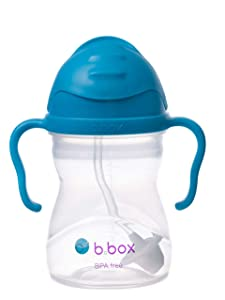 b.box Sippy Cup with Innovative Weighted Straw, Cobalt (Matte Lid)