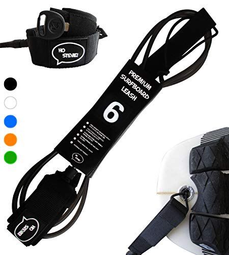 Ho Stevie! Premium Surf Leash [1 Year Warranty] Maximum Strength, Lightweight, Kink-Free, Types of Surfboards. 7mm Thick (1/4