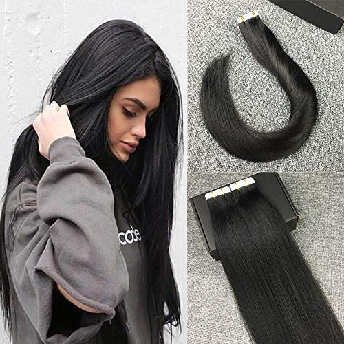 Reysaina 22inch 50Gram Tape in Remy Human Hair Extensions Off Black Color Seamless Silky Straight Glue in Human Hair Extensions (Black Hair Extensions 22 Inch)