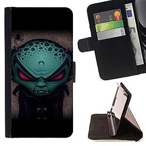For HTC Desire 820 - Funny Evil Alien Vampire /Funda de piel cubierta de la carpeta Foilo con cierre magn???¡¯????tico/ - Super Marley Shop -