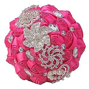 cn-Knight Wedding Bouquet Bridal Bouquet Handmade Silk Satin Rose Artificial Flower with Sparkling Rhinestone Brooch Crystals Pearl Soft Ribbon for Bride Bridesmaid Church(10''W×11''H,Rosy Red) 27