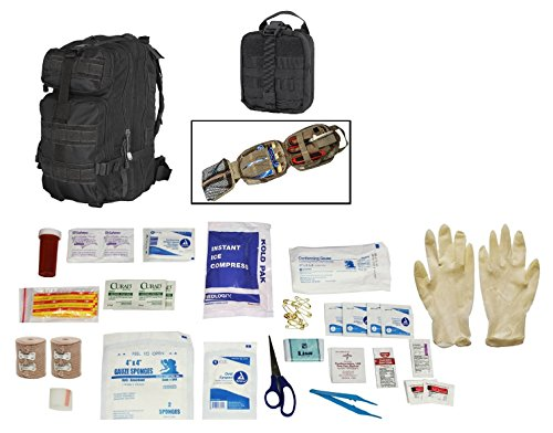 Ultimate Arms Gear Level 3 Assault MOLLE Black Backpack Kit + MOLLE Rip-Away EMT Medical Pouch + First Aid Trauma Fully Stocked Kit Contents Come In Polybag, USA MADE