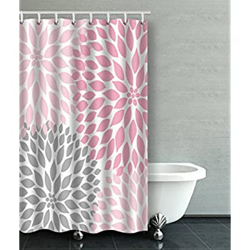Pale Pink Shower Curtain. Accrocn Waterproof Shower Curtain Curtains Fabric Pale Pink Gray White  Dahlias 36x72 Inches Decorative Bathroom Odorless Amazon com Creative Home Ideas mrbaumbach co 100 Images Living