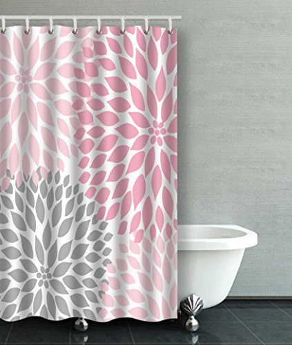 Accrocn Waterproof Shower Curtain Curtains Fabric Pale Pink Gray White Dahlias 36x72 Inches Decorative Bathroom Odorless Eco Friendly Anti Bacterial