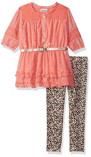 Little Lass Toddler Girls' 2 Pc Leopard Legging Set Glitter, Salmon, 4T by Little Lass